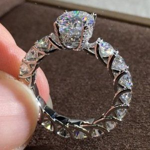 NEW 925 Sterling Silver Oval Cut Diamond Ring